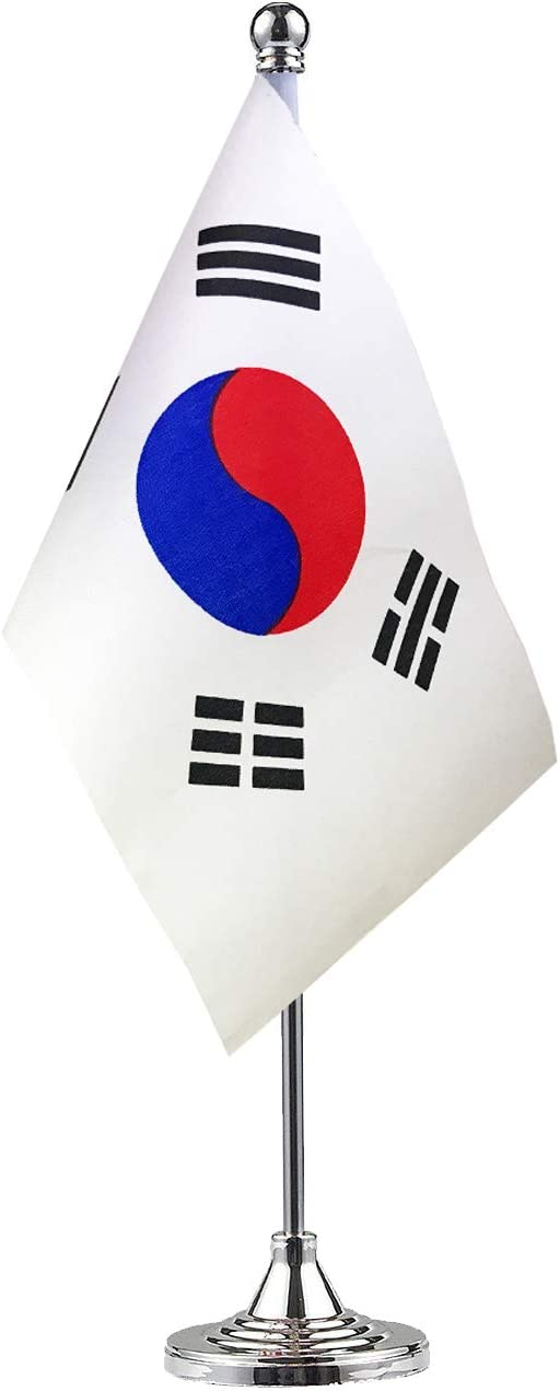 GentleGirl Korea Flag Korean Flags, Small Mini Korean State Flag Desk Flag Stick Office Table Flag on Stand Base,Festival Events Celebration,Home Decoration