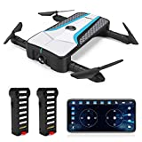 FPV Drone with Camera, JJRC RC Drones with Follow Me Foldable Drone with Optical Flow Positioning Quadcopter with 2 Batteries in 20 mins(10mins +10mins), Headless Mode for Adults and Beginners