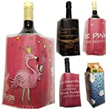 BierEx Flaschenkühler Sektkühler Weinkühler Getränkekühler Kühlakku Kühlmanschette Motiv Flamingo - be pink and Beautiful