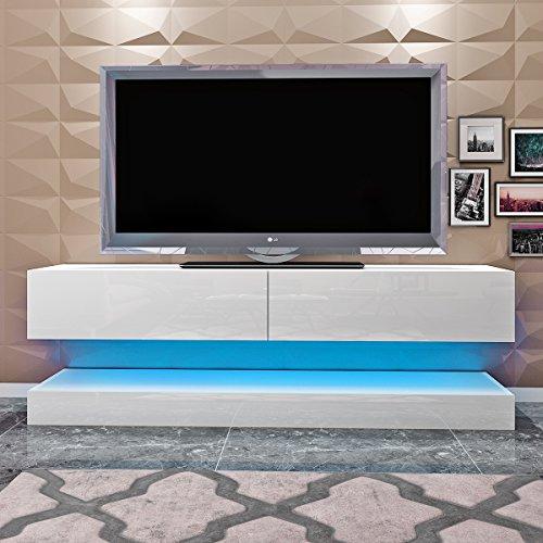 Drijvende tv-kast met led-licht, tv-standaard, hangende tv-kast, hoogglanzende tv-bureaukast met opberglade, tv-consolekast, woonkamermeubilair
