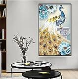 Impresión de pared Cuadros de pavos reales dorados y azules, Pintura en lienzo Pintura al óleo Animales Arte de la pared Póster Livinroom Decor 60x120cm (23'x47') Sin marco