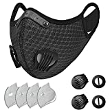 SKYLMW Outdoor Face Mask,Breathable Dust Reusable Cover with Filter and Valve,with 2 Replaceable Valves and 4 Replaceable Filters Included for Workout Training Exercise Athletic Running Runner,Black