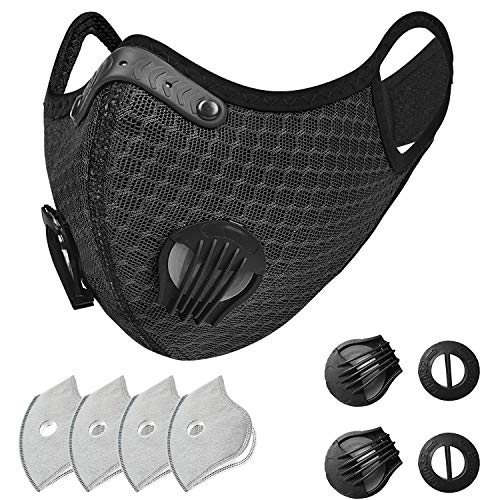 SKYLMW Outdoor Breathable Dust Reusable Face Mask with Filter and Valve,2 Replaceable Valves and 4 Replaceable Filters Included,for Workout Training Athletic Exercise Cycling Running Cover,Black