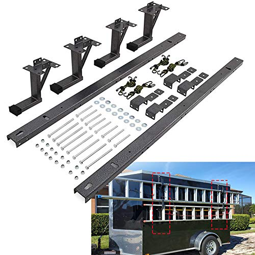 Lonwin Adjustable Trailer Ladder Rack Fit for Enclosed Trailer Exterior Side Wall - Carry 2 Ladders