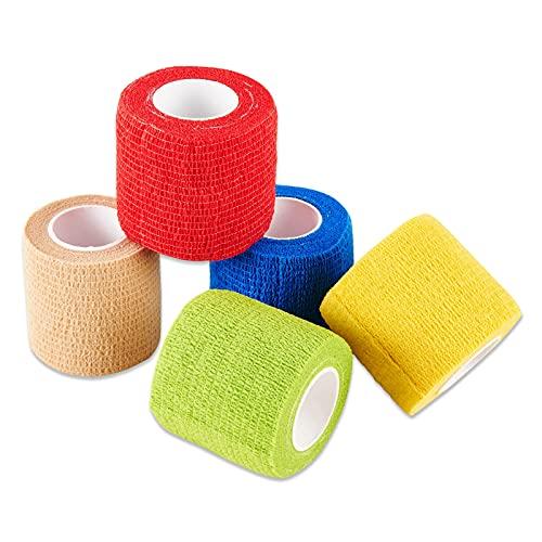 Selighting Rollos de Vendajes Adhesivos Primeros Auxilios Cinta Autoadhesivos 5cm × 4,5m Juego de 5 Multicolor,Elástico e Impermeable para Mmuñeca, Tobillo y Esguinces
