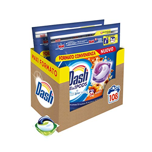 Dash All in 1 Pods Detersivo Lavatrice in Capsule, 108 Lavaggi (2 x 54), Ambra, Maxi Formato, Morbidezza e Protezione delle Fibre, Per Tutti i Capi
