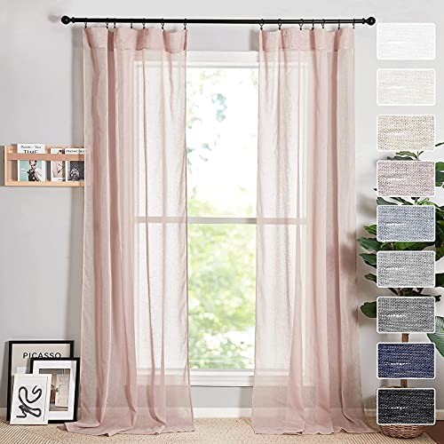 RYB HOME Pink Sheer Curtains for Canopy Bed, Linen Semi Sheer Curtains Soft & Vertical Sheer Backdrop Drapes for Living Room French Door Nursery Sunroom, Wide 52 x Long 84 inch, 2 Panels