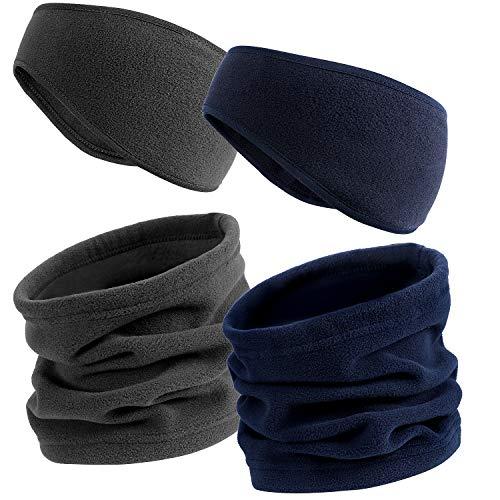 Vamei Fleece oorwarmer hoofdband beanie muts set fleece nekwarmer oorbeschermer winter hoofdbanden nekbescherming voor skiën winteractiviteiten