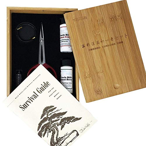 Bonsai Tree Starter Tool Kit in Bamboo Box by Tinyroots. 'Anti-Intimidation' Starter Kit includes 101 Bonsai Tips Book, Butterfly Shears, MicroTotal Micronutrient Supplement, Fertilizer, Aluminum Wire, Mudman Figurine & Gorgeous Bamboo Storage Box