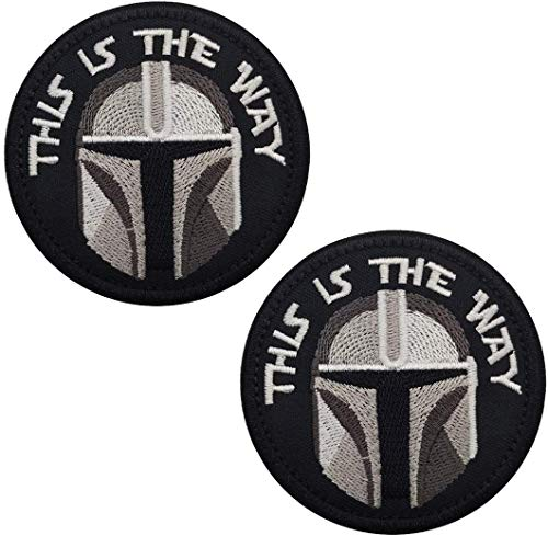 This is The Way Mandalorian Half Helmet Inspired Art Embroidered Fastener Hook and Loop Backing Tactical Moral Patch 8,9 cm 2 Stück