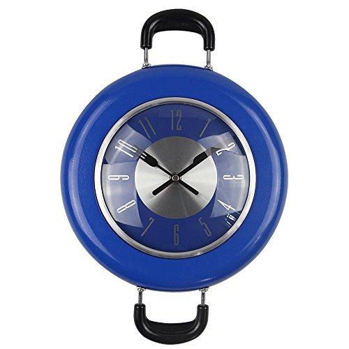 LLL-Frying pan muur klok, Roestvrijstaal Quartz uurwerk Novelty Opknoping Keuken Cafe Muur Klok meerdere Kleur selectie, blauw