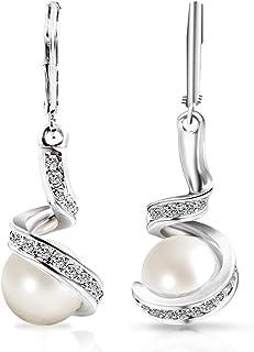 Mimei Boucles d'oreilles Pendantes,Perle de culture Grise et Blanche, 18K Argent Or Plaqué,Longues Percées Pour Femme Fill...
