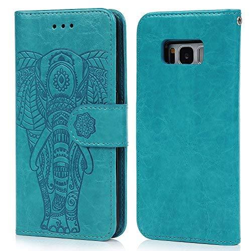 Geniric Funda para Samsung Galaxy S8, Flip Wallet Carcasa Libro de Cuero Impresión de Elefante PU Premium y TPU Funda Interna (2 en 1, Separable), Soporte Plegable - Azul
