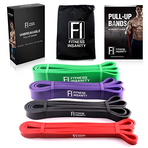 Fitness Insanity Pull Up Assist Bands – Set of 4 – Heavy Duty Resistance Bands – Mobility and Powerlifting Exercise Bands – Perfect for Body Stretching, Powerlifting and Resistance Training