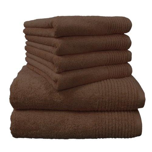 Dyckhoff Brilliant 0410996215 - Juego de Toallas (6 Piezas, Incluye 2 Toallas de baño de 70 x 140 cm y 4 Toallas de Mano de 50 x 100 cm), Color marrón