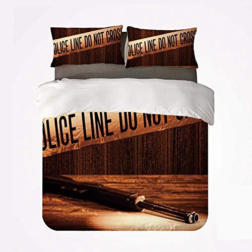 Qoqon Bettbezug-Set Mord-Szene Komfortables 3-Bett-Set, Sicherheits-Warnband am forensischen Tatort Schrotflinte Waffenbeweis Grunge Dekorativ für das Hotel