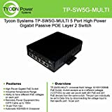 Tycon Systems TP-SW5G-MULTI 5 Port High Power Gigabit Passive POE Layer 2 Switch - 12-56V