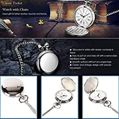 Smooth Vintage Steel Quartz Pocket Watch Classic Fob Pocket Watch with Short Chain for Men Women - Gift for Birthday Anniversary Day Christmas Fathers Day (Silver) #3
