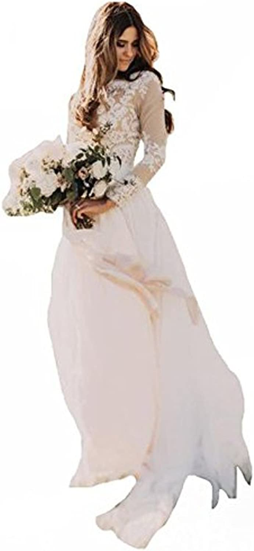Mileyhouse Bohemian Country Wedding Dresses Long Sleeves Bateau Lace Boho Bridal Gowns