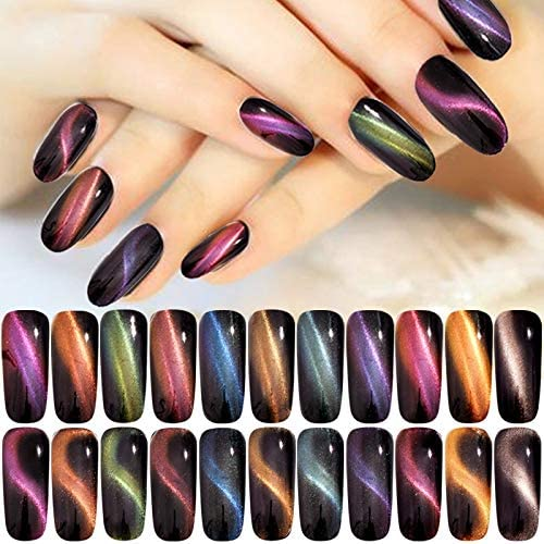 Amazon.com: Nail Gilter 1Box 3D Cat Eye Effect Magnet Mirror Powder with Brush Magnetic Glitter Dust Chrome DIY Nail Art Pigment - (Color: 3D06) : Beauty & Personal Care