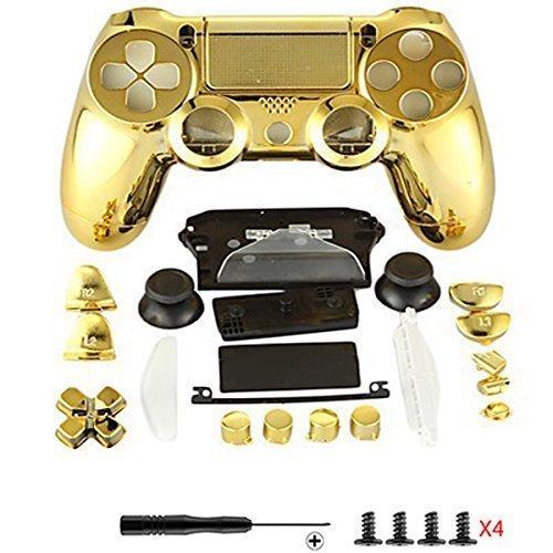 Canamite, Kit con parti di ricambio per controller per PS4, con involucro esterno del controller, custodia protettiva e pulsanti, per Playstation 4,DualShock 4 gold