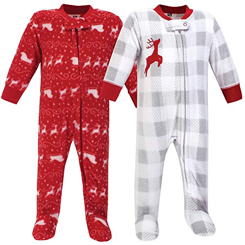 Hudson baby Unisex-Baby Fleece Sleep and Play, Sleigh 2-Pack Kleinkind, Schlafsack, Santas Schlitten 2er-Pack, 0-3 (3 Monate)