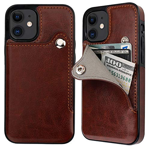 ONETOP Compatible with iPhone 12 Mini Slim Wallet Case with Credit Card Holder, PU Leather Button Closure Kickstand Protective Shockproof Cover 5.4 Inch(Brown)