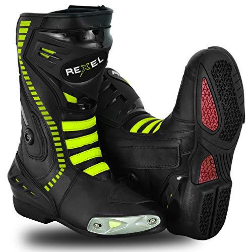 Gleam Stivali da Moto Impermeabili da Moto Scarpe da Uomo in Pelle Antiscivolo Stivali corazzati da Motocross Touring Urban Racing Sports Verde (43 EU)