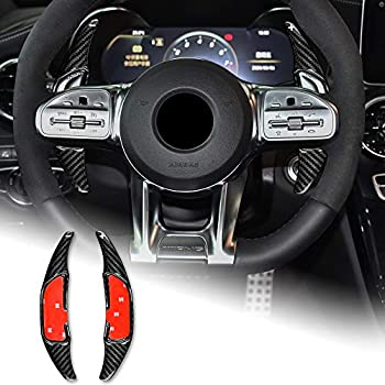 AIRSPEED Carbon Fiber Steering Wheel Paddle Shifter Extensions Cover shift paddles Interior Trim Accessories for Mercedes Benz AMG C63 W205 E63 W213 C43 A45 G63 S63 GLA45 GLS63  Black