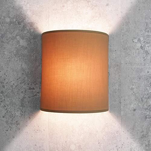 Wandleuchte Loft Stil kaffee-braun Wandlampe mit Stoff Schirm 1x E27 max. 60W Wohnzimmerlampe eckig Schlafzimmer Flur Beleuchtung