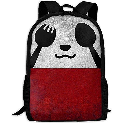 Schultasche Panda Messer Und Gabel Drucken Benutzerdefinierte Reisen Schultasche Lässig Rucksack Mehrzweck Daypack Adult