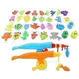 Yosoo Health Gear Juego de Pesca magnética para niños, 39pcs/Set Juego de Red de caña de Pescar de Pesca magnética para bebé Juego Educativo Regalo para niños de bebé Educativo