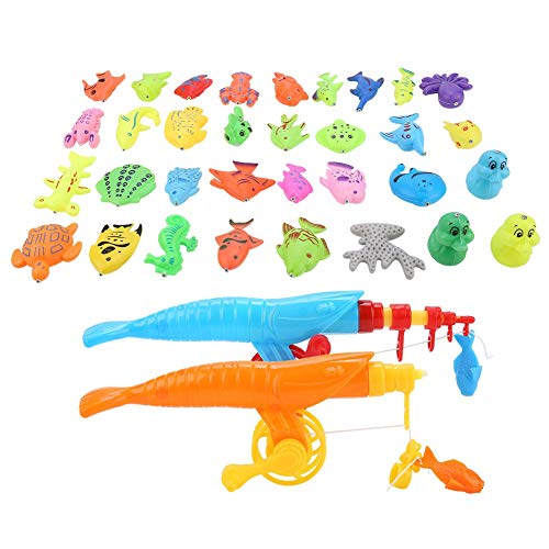 VGEBY 39Pcs Angeln Spielzeug, Baby Magnetic Fishing Set Kinder Lernspielzeug Zubehör