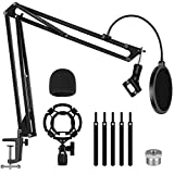 InnoGear Mic Stand, Heavy Duty Arm Stand Max Load 4.0 lb Adjustable Suspension Scissor Arm Stand for Blue Yeti and Other Mics with Windscreen, Pop Filter, Shock Mount, Mic Clip, 3/8' to 5/8' Adapter