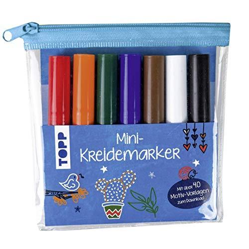 Mini-Kreidemarker Set mit dunklen Farben (blau): 7 Mini-Kreidemarker im praktischen Etui mit über 40 Motiv-Vorlagen zum Download