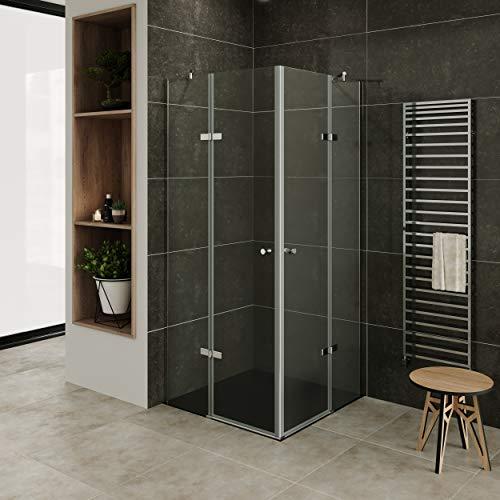 MOG Mampara de Ducha 90x90cm con plato de ducha altura: 190 cm Cabina de ducha con Apertura de Puerta 6mm Vidrio transparente de seguridad – DK19