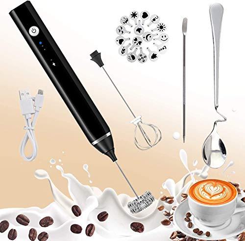 BaiWay Elektrischer Milchaufschäumer, USB Wiederaufladbar Edelstahl 2 in 1 Milchschäumer Elektrisch mit Kaffeelöffel/Kaffee Art Schablonen und Nadel für Kaffee/Latte/Cappuccino, Eier Schlagen