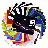 Láminas para plóter textil: 36 unidades de 30,5 x 25 cm, lámina flexible para camisetas, 27 colores surtidos con accesorios HTV, pinzas para Cricut, Silhouette Cameo o máquina de impresión de calor