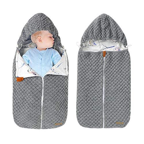 mimixiong Newborn Baby Wrap Swaddle Blanket Knit Sleeping Bag Knit Blankets Stroller Wrap Grey