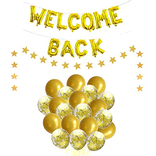 JumDaQ Welcome Back Letter Balloon Star Banner Garland with Gold Confetti Balloons for Home Coming, Back To School, Reunion And Home Family Party Decorations(23 Pack)