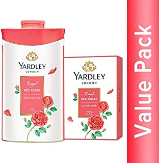 Yardley London Royal Red Roses Luxury Soap 100g (pack of 4) + Yardley London Royal Red Roses Perfumed Talc 100g