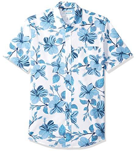 Amazon Essentials - Camisa de manga corta y corte entallado con estampado para hombre, Large Floral, US M (EU M)