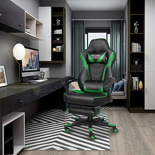 ELECWISH Racing Video Gaming Chair High Back Large Size Ergonomic Adjustable Swivel Reclining Executive Computer Chair with Headrest and Lumbar Support PU Leather Executive Office Chair Green