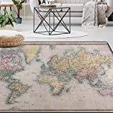 Naanle Vintage World Map Area Rug 5'x7', Educational Polyester Area Rug Mat for Living Dining Dorm Room Bedroom Home Decorative