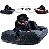 Interchangeable 2-in-1 Dog Bed. Super Extra Large with Two Removable Covers and Waterproof Liner. Made for Big Dogs up to 100 pounds and more. 48x30 and Stuffed 8 Inches High with Memory Foam Pieces.
