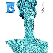 "LAGHCAT Mermaid Tail Blanket Knit Crochet Mermaid Blanket for Adult, Oversized Sleeping Blanket, Wave Pattern (75""x35.5"", Mint Blue)"