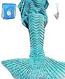 LAGHCAT Mermaid Tail Blanket Knit Crochet Mermaid Blanket for Adult, Oversized Sleeping Blanket, Wave Pattern (75'x35.5', Mint Blue)