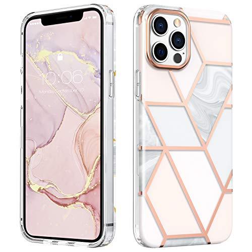 MATEPROX Marmo Design Cover per iPhone 12 Pro Max Custodia, TPU Paraurti+PC Duro posteriore Cover, Glitter Marmo Protettiva Custodia Cover per iPhone 12 Pro Max 6.7'' 2020-Marmo rosa