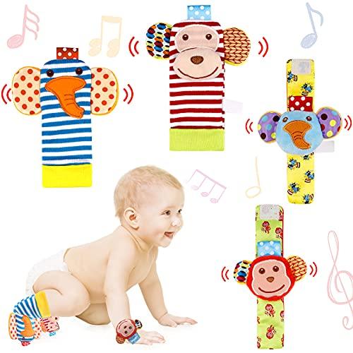 BelleStyle Sonajeros de Muñeca, 4 PCS Bebé Sonajeros Manos y Buscador de Calcetines para pies Juguete de Animales Lindo para el Desarrollo del Bebés Niños y Niñas 0-12 Meses