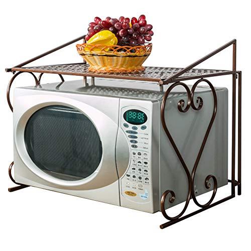 Warmiehomy Mensola per Forno a Microonde, 55×43,5×36cm Porta Padelle e Pentole, Mensola da Cucina, Mensola in Metallo, Pieghevole - Bianca